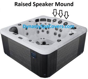 hot tub cover with raised speakers in the center