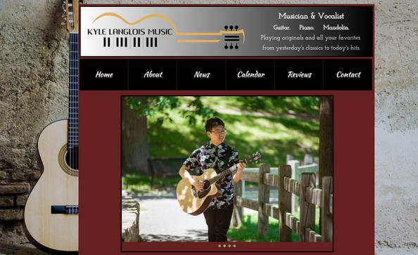 Kyle Langlois Music website designed by CLICK WebDesigns