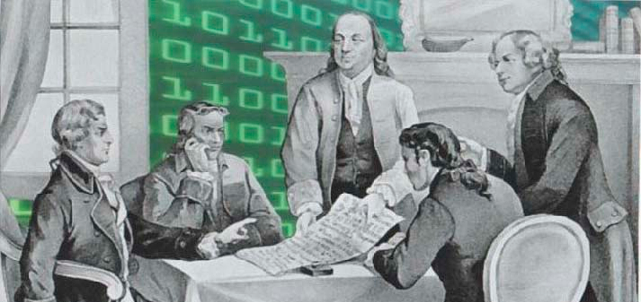 Signing of the Declaration of Independence with computer code in background