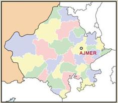Map outlining City of Ajmer in India