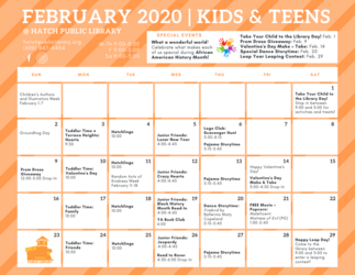 February 2020 Youth Programs Calendar