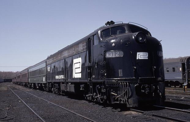 A Penn Central Transportation Company passenger train at Bay Head, New Jersey, April 18, 1971.