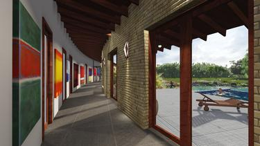 Texas Hill Country Twisted house 3DGreenPlanetArchitects.com gallery hall for Rothko paintings
