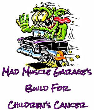Mad Muscle Garage's Build for Children's Cancer Logo and Twitter Link