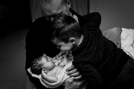 Birth photographer Jennifer Strilchuk captures big brother meeting his new baby brother at Abbotsford Hospital