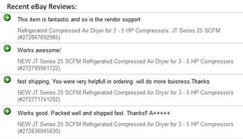 Recent eBay Reviews for JT Series Refrigerated Compressed Air Dryers - Click to go to our eBay Page