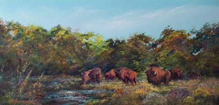 "Serendipity, a herd of American Bison graze in wildflowers in Texas Hill Country in this 12"" x 24"" pastel landscape painting by Texas artist Lindy Cook Severns"