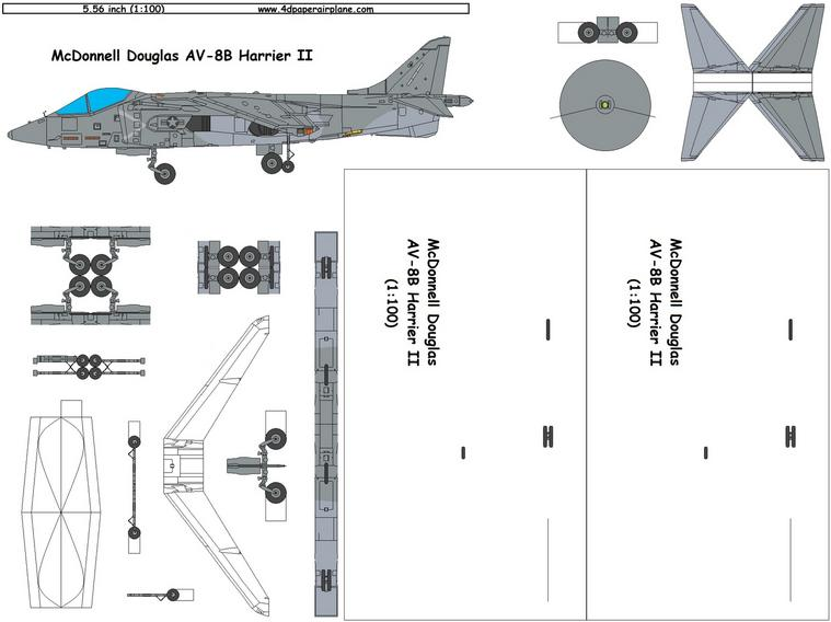 4D model template of McDonnell-Douglas AV-8B Harrier II