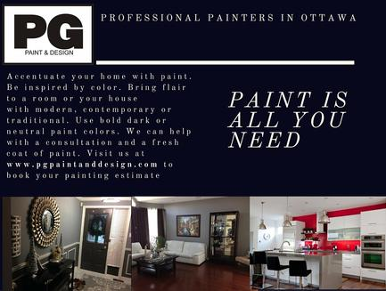 accentuate your house and home decor with paint colours interior painting by painters in Ottawa PG PAINT & DESIGN