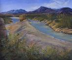 The River Between the Lands, original southwestern landscape pastel painting by Big Bend Artist Lindy C Severns, Old Spanish Trail Studio, Fort Davis TX. Rio Grande in Big Bend Ranch State Park