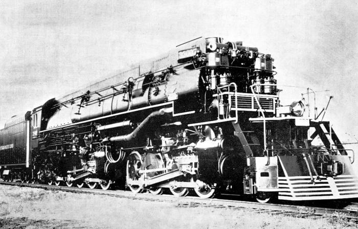 Postcard photo of one of the Southern Pacific's class AC-9 steam locomotives.