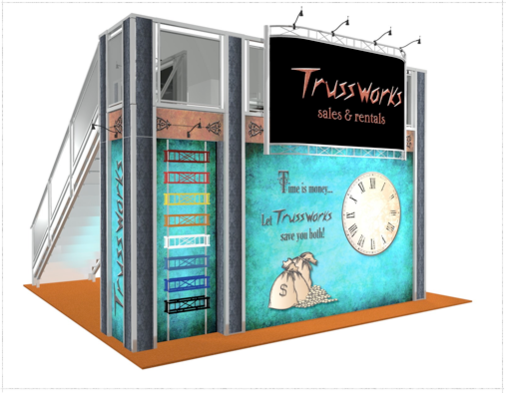Trussworks double deck exhibit booth back view.