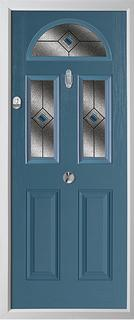 2 panel 2 square 1 arch composite door in duck egg blue