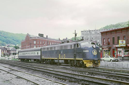 The West Virginian is led by EMD E8A No. 1449, May 17, 1969. Photo by Roger Puta.