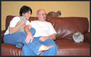 Victoria and Mike Blais enjoy cat training and grooming.