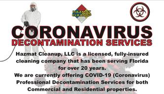 Covid-19 coronavirus cleanup decontamination disinfection & sanitation services