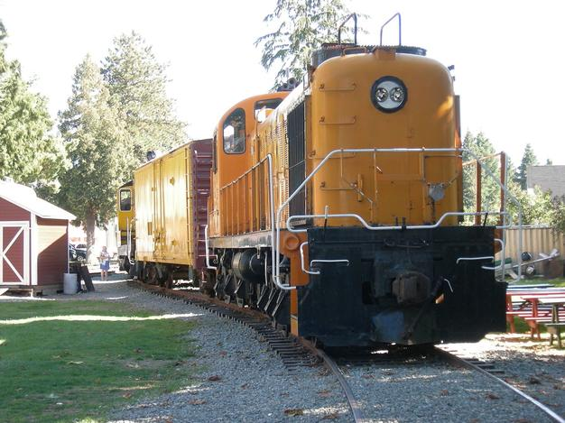 Another view of Kennecott Copper Corporation locomotive 201 on display at Snoqualmie Depot, Snoqualmie, Washington, USA.