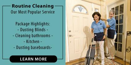 Standard home cleaning service. House cleaning includes dusting blinds, cleaning bathrooms and kitchens, dusting baseboards. Picture of two maids vacuuming.