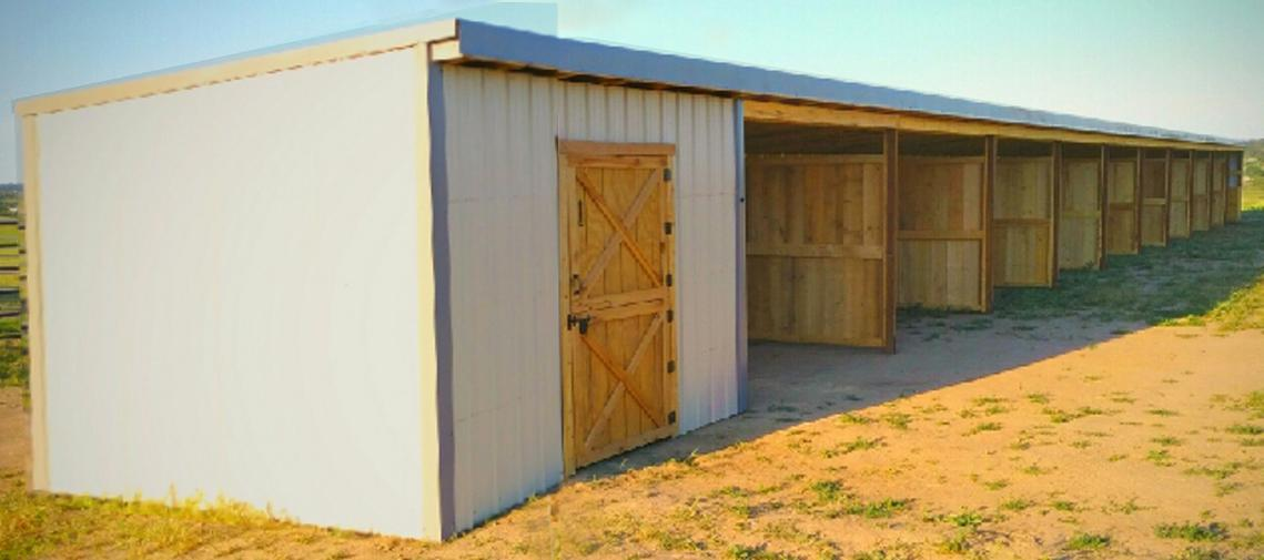 Storage shed with Tack Room and Loafing Shed for Horses animal shelter