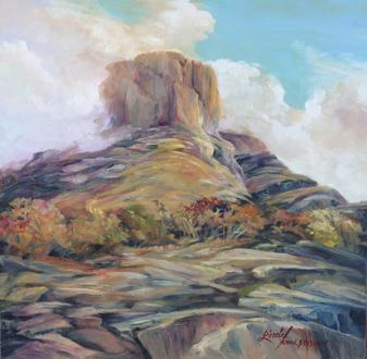 "Alone With the Sky, 8"" x 8"" original oil painting of Casa Grande in Big Bend National Park. Lindy Cook Severns, Big Bend Artist"