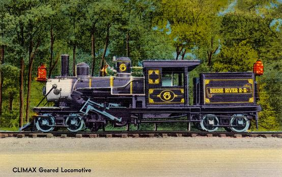 Postcard depiction of a Climax Geared Locomotive.