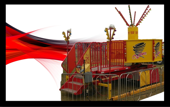 Sandstorm fair ride for sale on red background