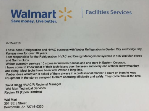 Wal-mart compliment review on Weber Refrigeration Garden City, Ks