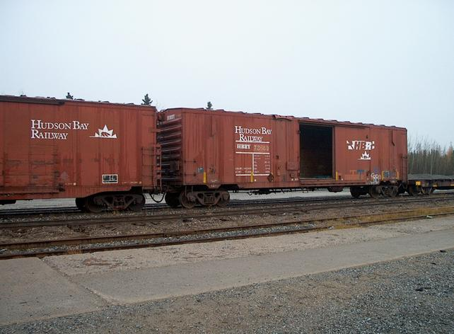 Hudson Bay Railway boxcars at Thompson station.