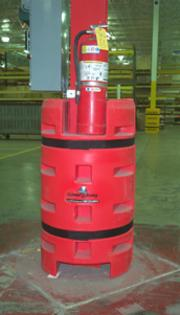 Red Column Sentry FE shows location of fire extinguisher