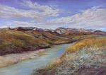 Snowy Peaks on the Rio Grande original pastel by Lindy Cook Severns for sale