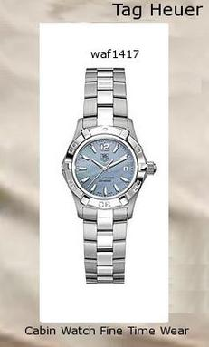 Watch Information Brand, Seller, or Collection Name TAG Heuer Model number WAF1417.BA0812 Part Number WAF1417.BA0812 Item Shape Round Dial window material type Anti reflective scratch resistant sapphire Clasp Fold-Over Clasp with Double Push-Button Safety Case material Stainless Steel Case diameter 27 millimeters Case Thickness 9 millimeters Band Material Stainless Steel Band length Womens Dial color Mother-Of-Pearl Bezel material Stainless Steel Bezel function Unidirectional Calendar Date Special features Dial Anti reflective scratch resistant sapphire, Case diameter 27 millimeters, Dial color Mother-Of-Pearl Movement Swiss quartz Water resistant depth 990 Feet