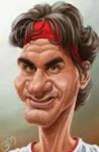 Caricature of sports figure, Roger Federer
