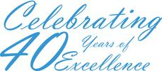 Image of blue script that reads Celebrating 35 years of excellence.