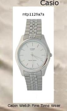Watch Information Brand, Seller, or Collection Name Casio Model number MTP1129A-7A Part Number MTP1129A-7A Item Shape Round Dial window material type Mineral Display Type Analog Clasp Fold over clasp Case material Gold Tone Case diameter 36 millimeters Case Thickness 7 millimeters Band Material Gold Tone Band length Men's Standard Band width 16 millimeters Band Color Silver Dial color Silver Special features Gold watch with white dial Item weight 16 Ounces Movement Quartz Water resistant depth 30 Meters