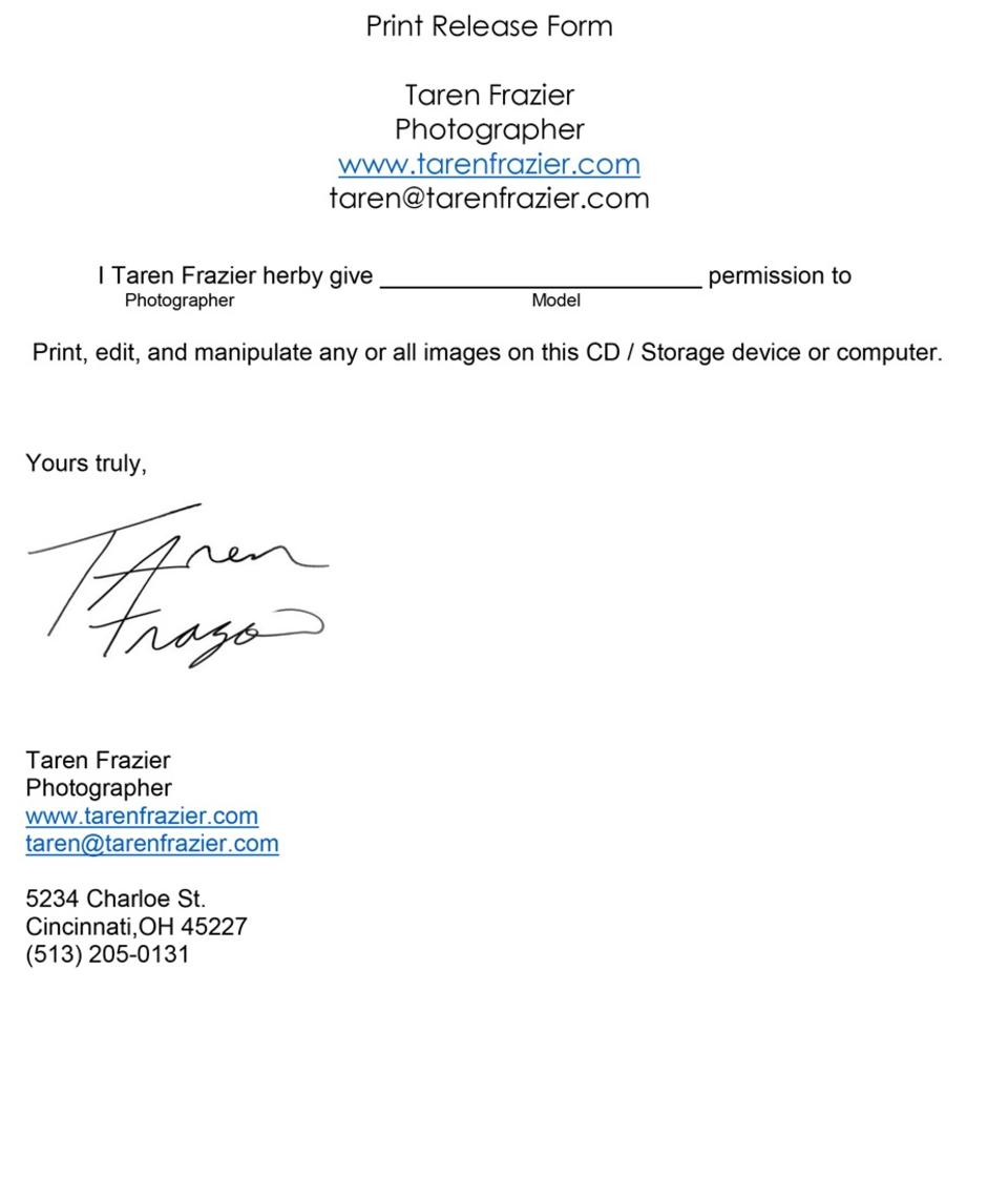 Print release jpeg for Free photography print release form template