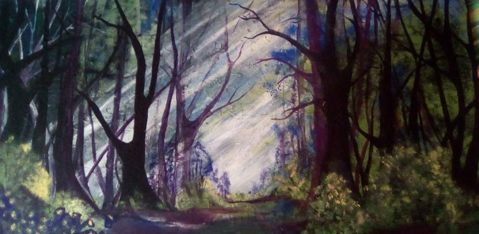 Through the forrest painted in acrylic by cindy kennedy