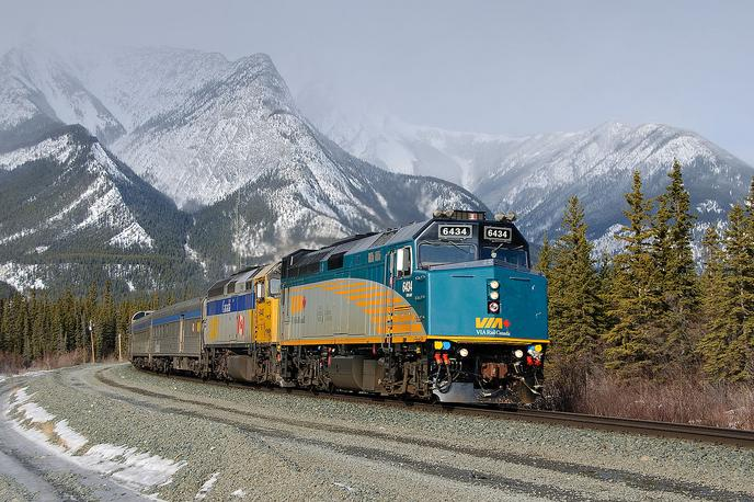 VIA No. 1, The Canadian is led by newly rebuilt F40PH 6434 near Jasper, Alberta.