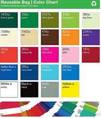 Color chart for wine totes