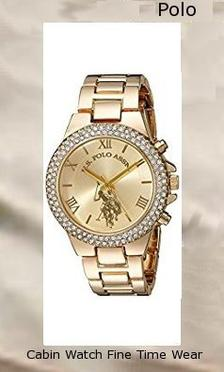 Product specifications Watch Information Brand, Seller, or Collection Name U.S. Polo Assn. Model number USC40032 Part Number USC40032 Item Shape Round Dial window material type Glass Display Type Analog Clasp Fold-over-clasp Case material Metal Case diameter 36 millimeters Case Thickness 10 millimeters Band Material alloy Band length Women's Standard Band width 8 millimeters Band Color Gold Dial color champagne Bezel material Metal Bezel function 24 hour time display Item weight 2.40 Ounces Movement Analog quartz