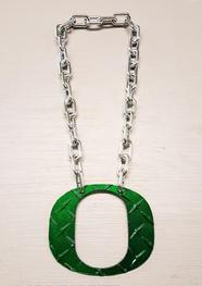 Oregon_Ducks_Necklaces_Green_Diamond_Plate_Large_Chain_O_Custom_Made_University_of