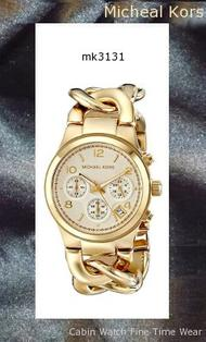 Watch Information Brand, Seller, or Collection Name Michael Kors Model number MK3131 Part Number MK3131 Model Year 2011 Item Shape Round Dial window material type Mineral Display Type Analog Clasp Jewelry Clasp Metal stamp None Case material Stainless Steel Case diameter 38 millimeters Case Thickness 14 millimeters Band Material Stainless steel Band length Women's Standard Band width 25 millimeters Band Color Gold Dial color Gold Bezel material Stainless steel Bezel function Unidirectional Calendar Numeric Display between 4 and 5 o'clock Special features Chronograph, Luminous, Stop watch Item weight 4.96 Ounces Movement Analog quartz Water resistant depth 165 Feet,michael kors watch