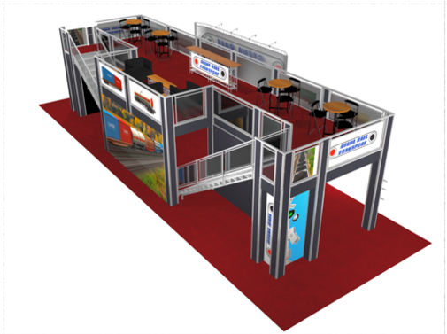 Gina rail 20 x 60 double deck trade show booth overhead view.