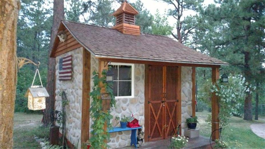 Stone and Wood Storage Shed, small shed