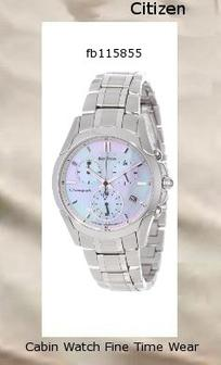 Watch Information Brand, Seller, or Collection Name Citizen Model number FB1158-55D Part Number FB1158-55D Model Year 2011 Item Shape Round Dial window material type Anti reflective sapphire Display Type Analog Clasp Fold-Over Clasp with Hidden Double Push-Button Case material Stainless steel Case diameter 35 millimeters Case Thickness 11 millimeters Band Material Stainless steel Band length Women's Standard Band width 18 millimeters Band Color Silver Dial color Mother of pearl Bezel material Stainless steel Bezel function Stationary Calendar Date Special features Chronograph, Luminous, Second-Hand Movement Japanese quartz Water resistant depth 30 Meters,citizen watch