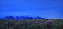 Dawn Bloom, large pastel landscape painting by Big Bend Artist Lindy Cook Severns, blue Chisos Mts and Texas Sage