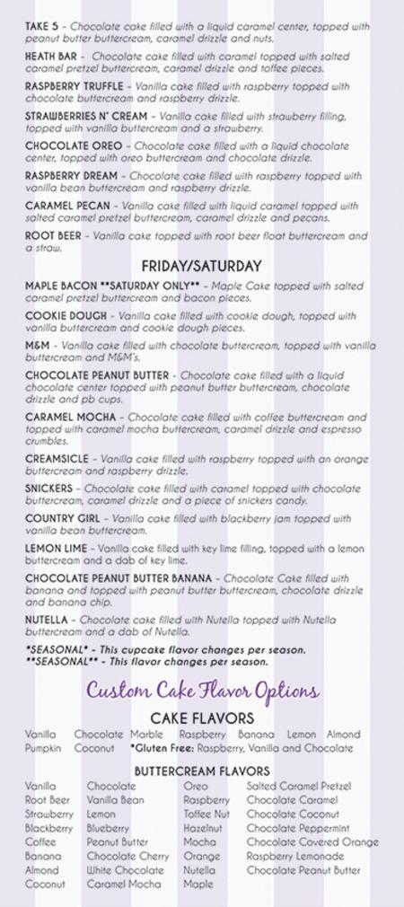 Ladycakes Daily Flavor List Cupcake Flavors