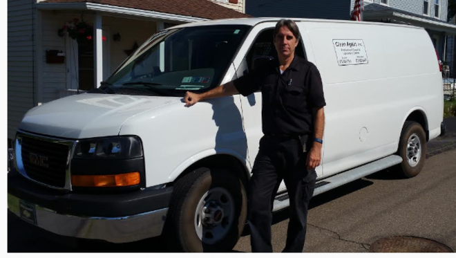 Carpet Cleaning Van and Tom the owner