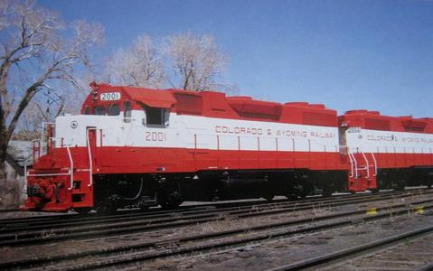 A postcard photo of Colorado and Wyoming GP38-2 No. 2001 in 1974.