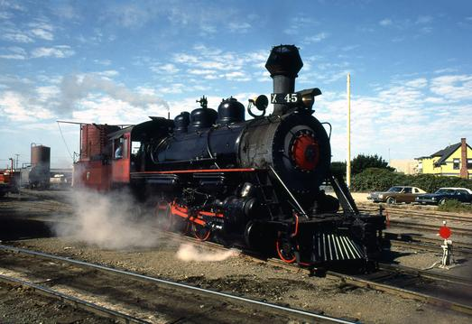 California Western Railway 2-8-2 Mikado No. 45 prepares for a journey in 1979. Photograph by Terry Oler.