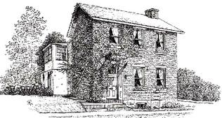 Ink sketch of Founders Gallery and Gifts shop built in 1823